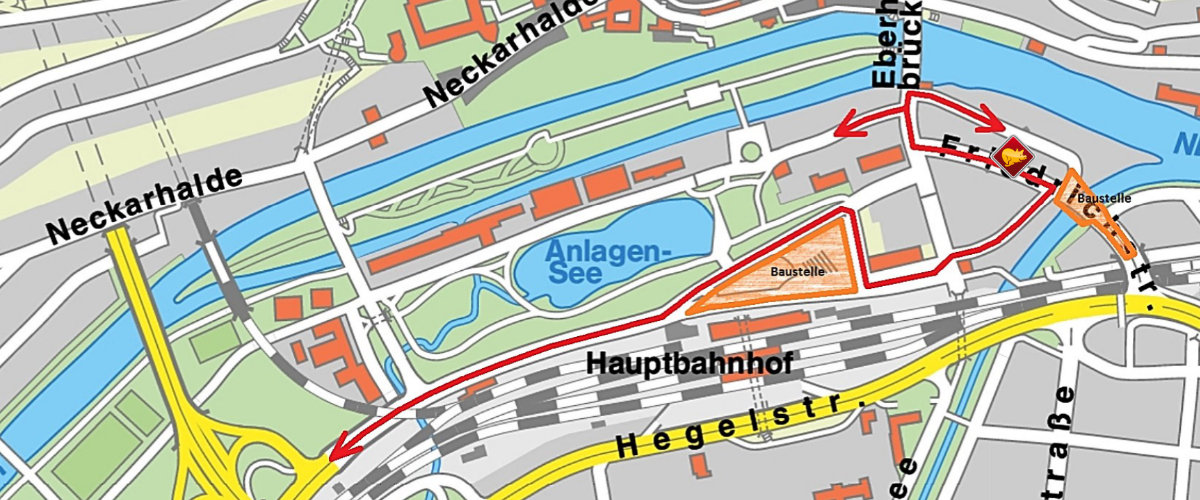 Plan zur Baustelle an der Blauen Brücke